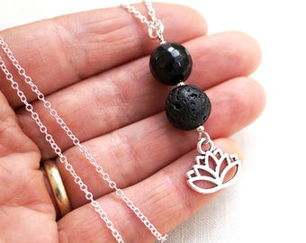 Essential Oil Diffuser Necklace Lava Lotus Flower Necklace Black Lava Orb Aromatherapy Necklace Sterling Silver Lotus Necklace Chakra Yoga
