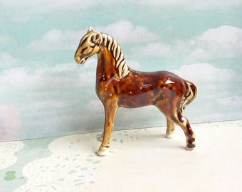 Vintage 1950s Treacle Glazed Porcelain model of a Horse by Swatow China