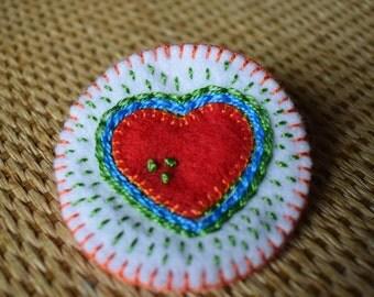 Handmade Vintage Style Love Heart Felt Brooch -  Scarf Pin - Coat Pin