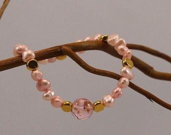 Bracelet pink gold elastic