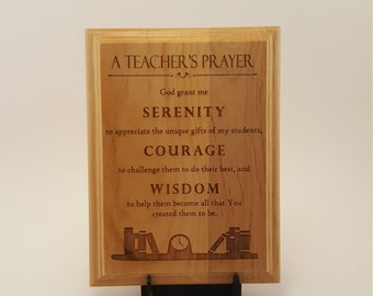 "A Teacher's Prayer Engraved Wood Plaque, 8"" X 10"""