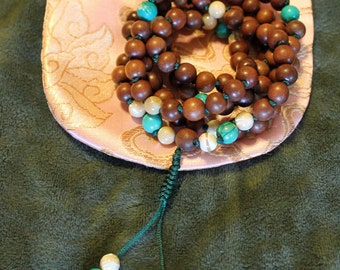 Magkuno, Mother-of-Pearl, & Turquoise Knotted Handmade Meditation Mala