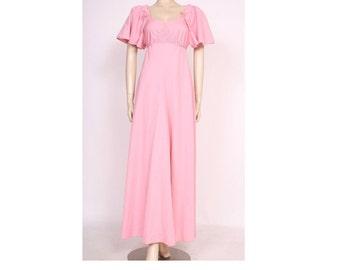 ORIGINAL 70's, Vintage Pink Full Length Prairie Dress, Bohemian Dress, Summer Maxi Dress, Floaty Party Dress, Vintage Dress, Tea party Dress