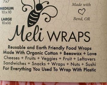 Reusable beeswax food wrap in Alani print (2 pack)