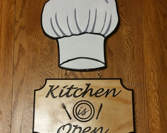 Kitchen Sign, Kitchen Open Sign, Kitchen Closed Sign, Wood Sign