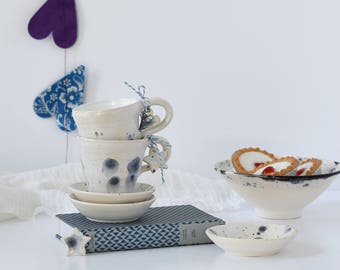 Ceramic espresso cup and saucer set in shades of shiny white champagne and flecks of blue - handmade stoneware pottery