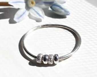 Dainty Fidget Ring for Women, Worry Ring, Spinner Ring, Meditation Ring, Anxiety Jewelry, Sterling Silver & Stardust Beads, Minimalist ring