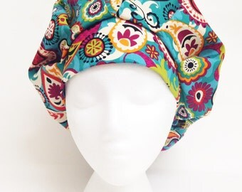 Bouffant Scrub Hat Teal Paisley