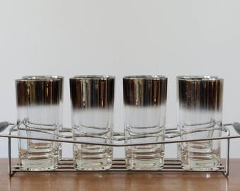 Vintage Silver Ombré glasses with Chrome Caddy
