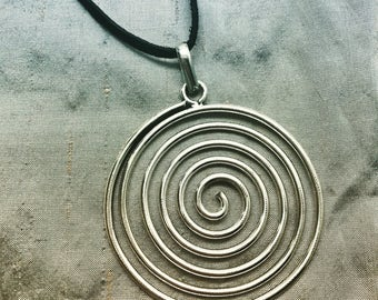 Pachamama Spiral Pendant Necklace on Leather Cord