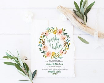 Printable Wedding Invitation Suite / Watercolor, Floral / Wedding Invite Set -  The Everly Wreath Suite