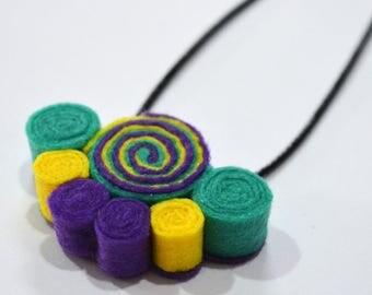 Handmade felt boho pendant necklace purple turquoise yellow spirals