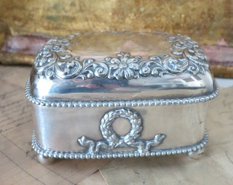 Antique Repousse Jewelry Box-Desser Casket-Silver Plate Forbes & Co-Embossed Pretty