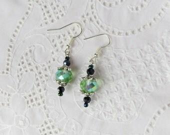 Green Beaded Earrings, Beaded Earrings, Green Earrings, Beaded Jewelry, Green Jewelry, Hippie Earrings
