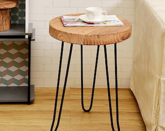 Round Old Elm Wood End Table HW950-904