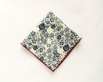 White navy blue floral pocket square cotton white blue floral prints wedding gifts for men groomsmen