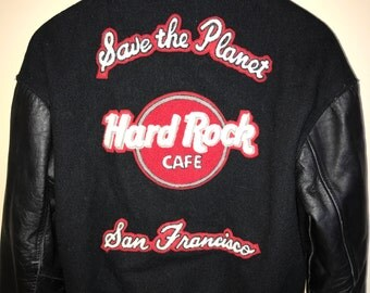 80s Hard Rock Cafe Bomber Jacket Vintage Winter Snow Ski Coat Letterman Save The Planet San Francisco California Music Leather Wool Large