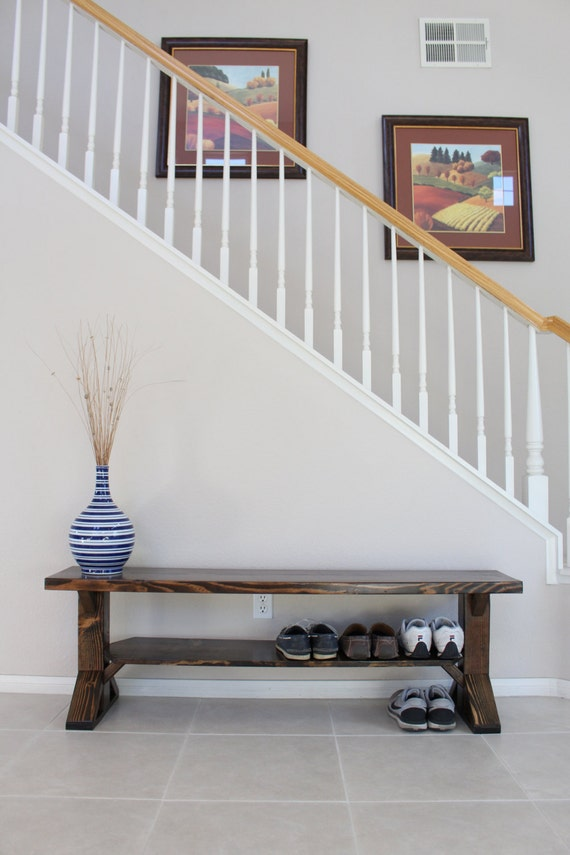 Solid Wood Farmhouse Entry Bench Storage Bench Shoe Bench