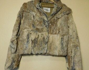 Vintage 90s Wilsons Dyed Rabbit Fur Jacket