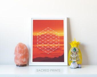 Sunset Valley Poster, Yoga Symbol Poster, Sacred Glyph Art, Seed Of Life Poster, Sacred Symbol Sunset, Red Orange Symbol Decor