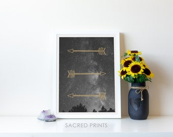 Milky Way Digital Print, Minimalist Space Poster, Three Golden Arrows, Stars in the Night Sky Poster, Astronomy, Instant Download