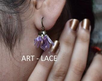 Stud Earrings Lilac Flowers rustic wedding earrings for women Swarovski Teardrop earrings resin wire Bridal violet earring vintage elegant