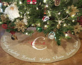 burlap christmas tree skirt personalized personalized christmas skirt burlap christmas tree skirt personalized - Christmas Tree Skirts