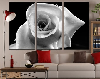 Canvas Art BW  Rose Print Large Canvas Print Nature Stretched Canvas Interior Décor White Rose Wall Art Gift for Home Decoration Multipanel