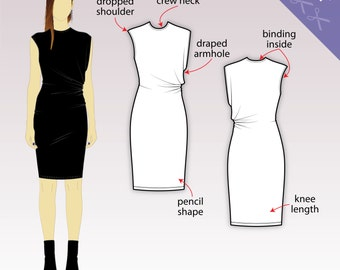 XS-XL Asymmetric drape dress, sleeveless and knee length (PDF sewing pattern for jersey knits) Kommatia Patterns