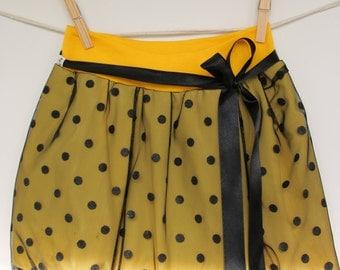 Yellow polka dot skirt, bubble skirt, girls skirt, baby skirt, toddler skirt, tulle, elastic waist, event skirt, tulle skirt, mommy and me