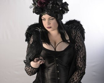 Pagan Horned Goddess with Jewels and Black/Deep Red Roses