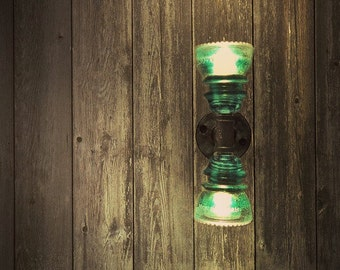 Items similar to twin column glass insulator dual light for Telephone insulator light fixture