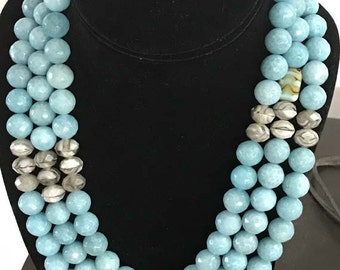 Handmade Necklace with three strands of marine blue 12mm faceted round glass beads
