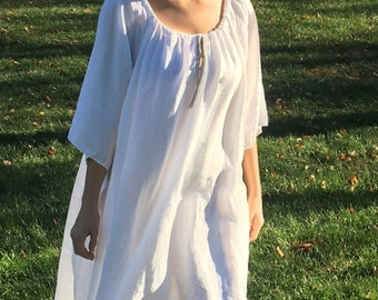 100% Organic Linen Long Nightgown