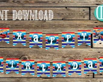 Birthday Birthday Banner | Hot Wheels DIgital Banner | Hot Wheels Party Decor | Letters, Numbers and Pic | Instant Download | PDF Files|Cars