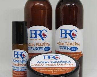 Vegan Acne Fighting Bundle - Cleanser, Toner, Moisturizer and Spot Treatment