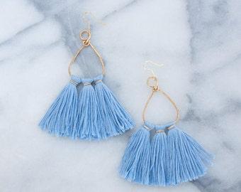 Blue Tassel Statement Boho Earrings