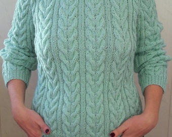Hand Knit Sweater. Women's Sweater. Knitted Pullover.