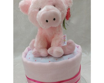 Single One Tier Pink Nappy Cake with Pig New Baby Gift