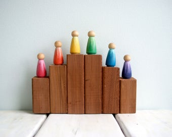 Waldorf Peg Dolls - 6 Small Watercolor Rainbow, Peg Doll, Peg People, Wooden Peg Dolls, Peg Dolls, Wooden Dolls, lbgt peg doll, montessori