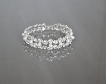 Wedding Bracelet,Crystal bracelet,Bridesmaid Bracelet,Jewelry, Pearl Bracelet.