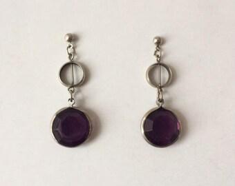 Vintage 1960's Purple Lucite Silver Symmetrical Circles Design Dangle Drop Earrings