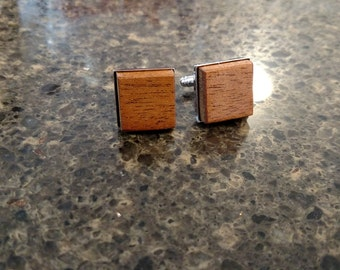 Wooden Cuff Links, Men's Accessories, Mahogany Cuff Links, Wood Jewelry, Gifts for Him, Suit Accessory