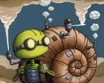 """Robot snail art print, cute """"Runaway"""" 8x8"""""""
