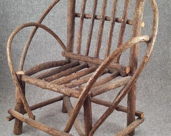 Vintage Doll Chair - Wooden Doll Furniture - Rustic Toy Chair - Stick and Twig Furniture
