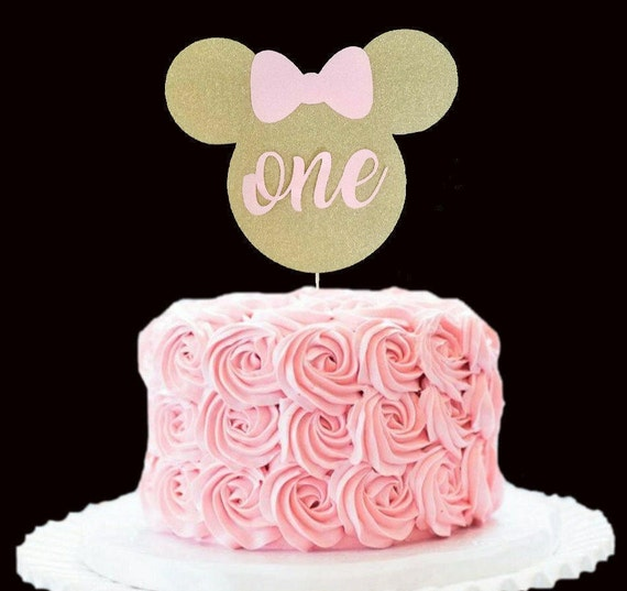 Minnie Mouse Birthda Cake Topper Gold and pink Minnie Mouse