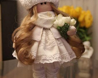 Textile doll handmade, Rag doll, cloth doll, handmade doll, white, blonde hair, gift for a girl