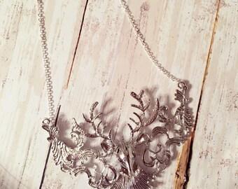 Deer Antler Statement Necklace-Antler necklace-statement necklace- Deer necklace- Silver necklace- Silver Deer-Bib necklace-Bib