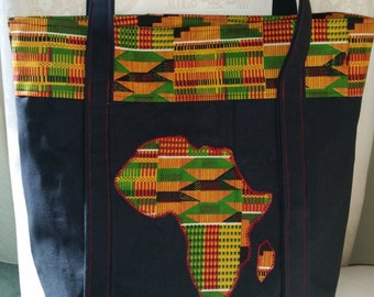 Kente Cloth tote with Africa Applique
