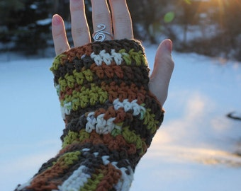 Cozy Fingerless Gloves, Fall Colored Gloves, Crocheted Gloves, Handmade